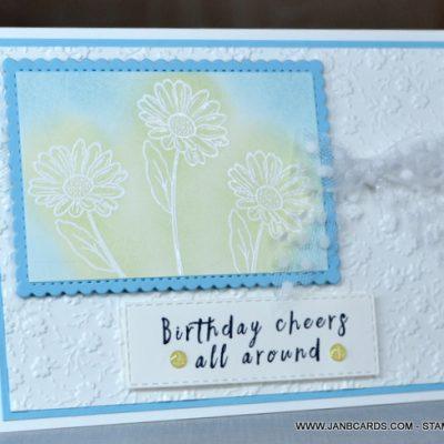Ornate Garden Emboss Resist Birthday Card