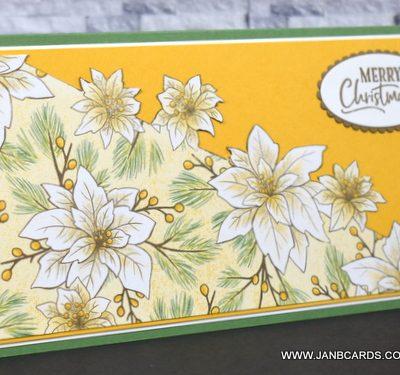 Poinsettia Place Slimline Christmas Card