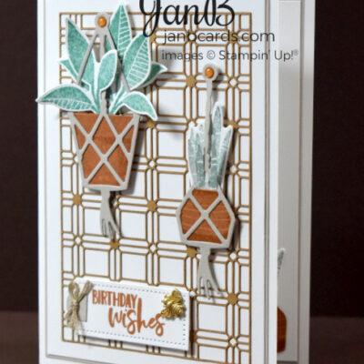 Plentiful Plants & Lattice Paper Birthday Card